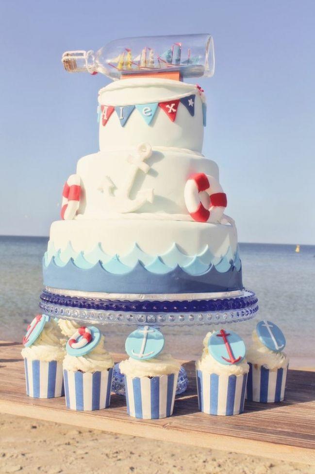 Boys Nautical Themed Birthday Party Dessert Cake Ideas Nautical