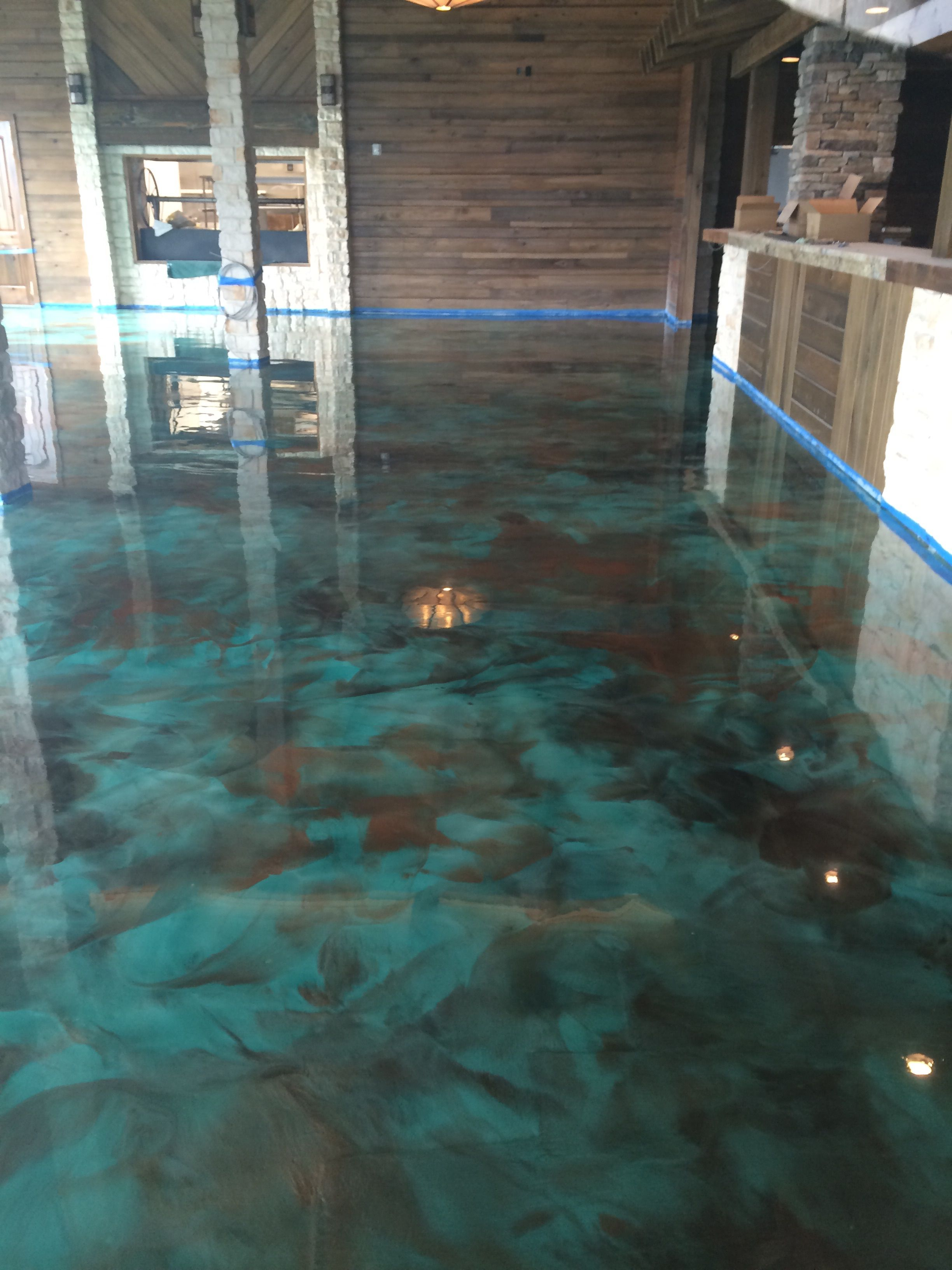 Turquoise Stained Concrete Floors : Epoxy quot turquoise and coffee reflector pinterest