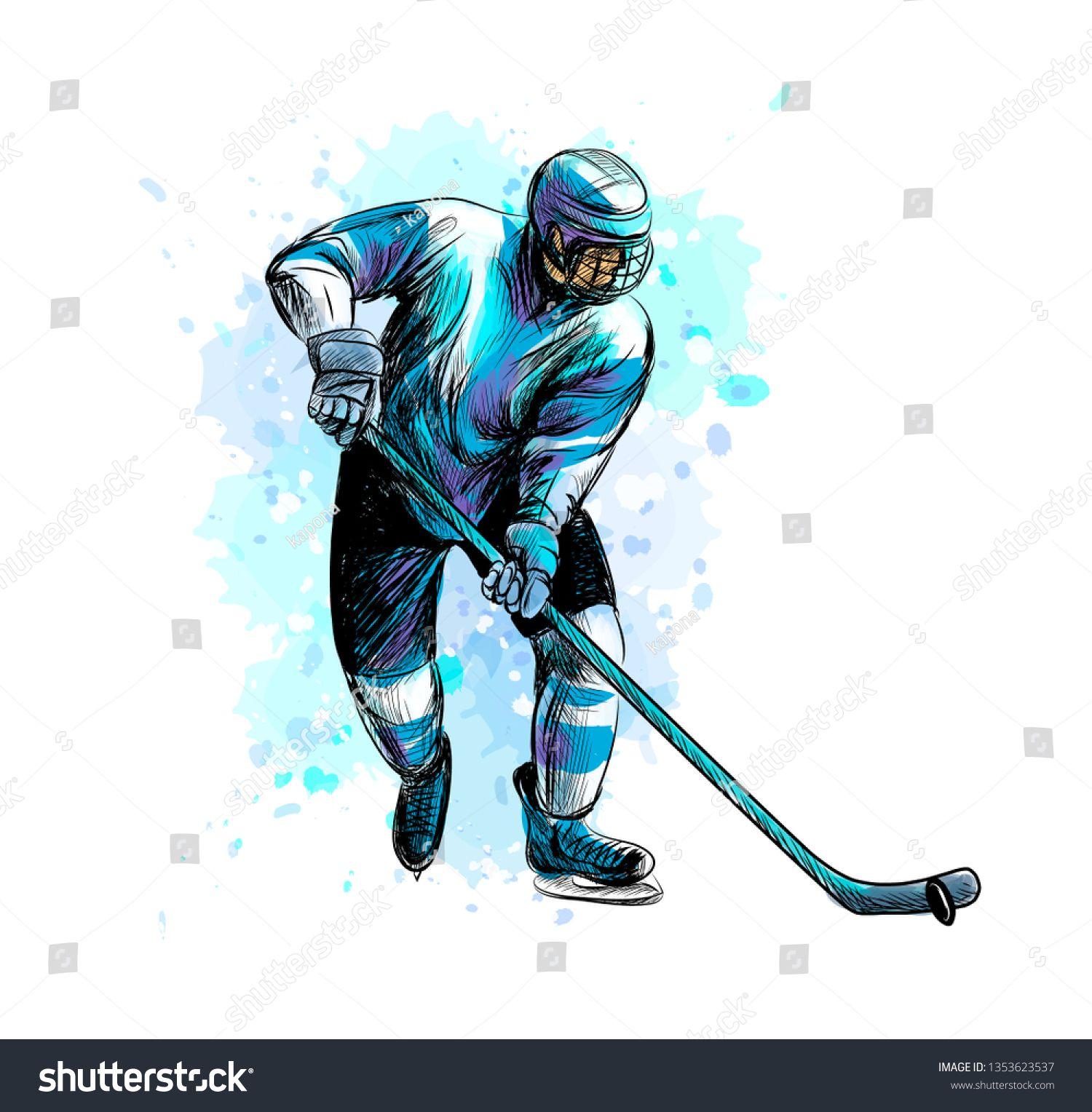 Stokovaya Vektornaya Grafika Abstract Hockey Player Splash Watercolors Hand Bez Licenzionnyh Platezhej 1353623537 In 2020 Hockey Drawing Hockey Players Hockey