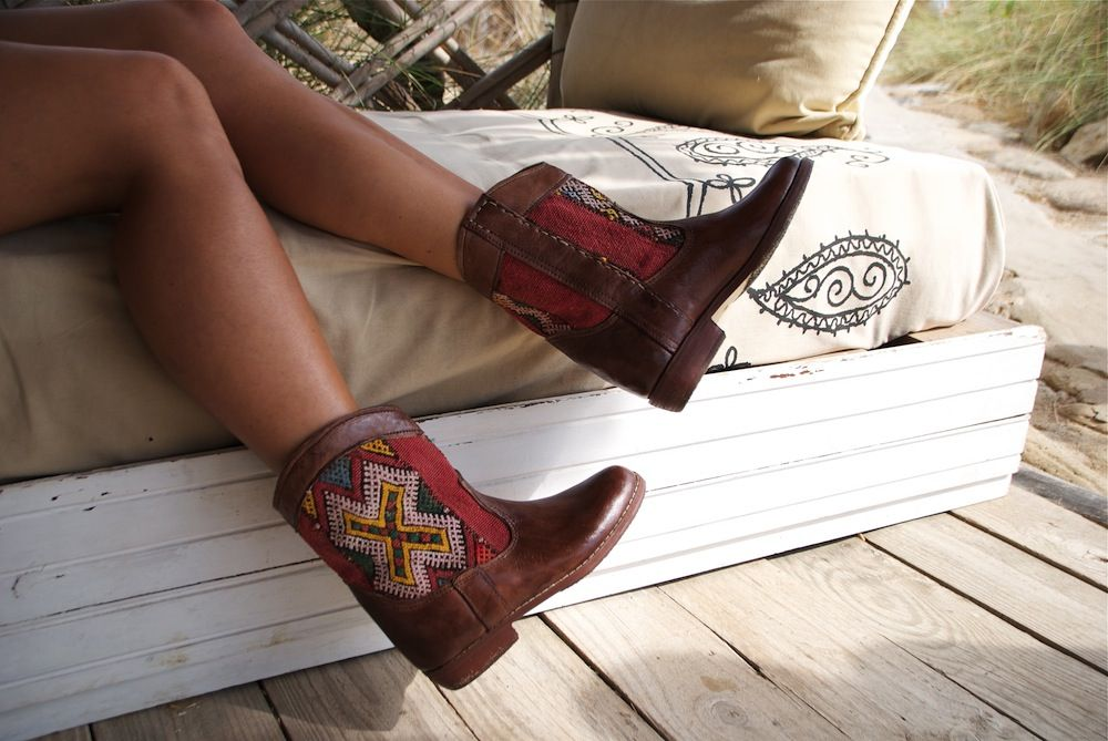Moroccan Leather Rounded Kilim Ankle Boots – size 38. £150 - SOLD!