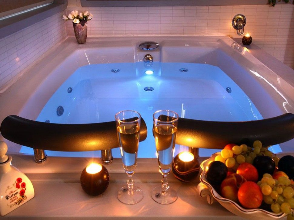 Bathroomromantic private hot tub ideas for couple with candle light decoration