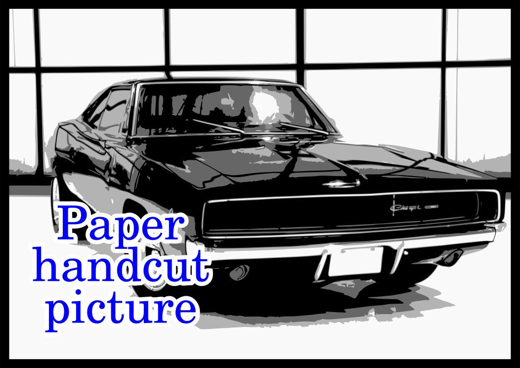 Dodge Charger 1969, classic car, 4 layer, layered paper cutting, lasercut pattern, Instant download, papercut template, stencil template.