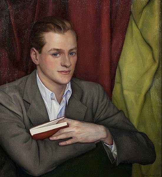 Portrait of a Young Man holding a Red Book, 1941. Luigi Lucioni.
