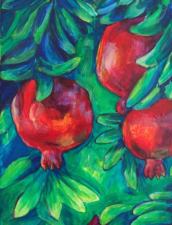 Pomegranate tree. Modern expressive abstract. Original ... Persian Pomegranate Trees For Sale