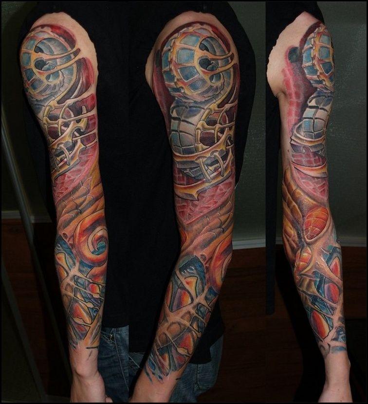 Tattoo Ideen Biomechanik Tattoo Ganzer Arm Farbig Biomechanik
