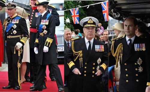 Prince Charles,Princess Anne,Prince Andrew and Prince Edward