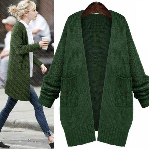 Fashion Green Sweater Coats Casual Knitted Long Cardigan | Long ...