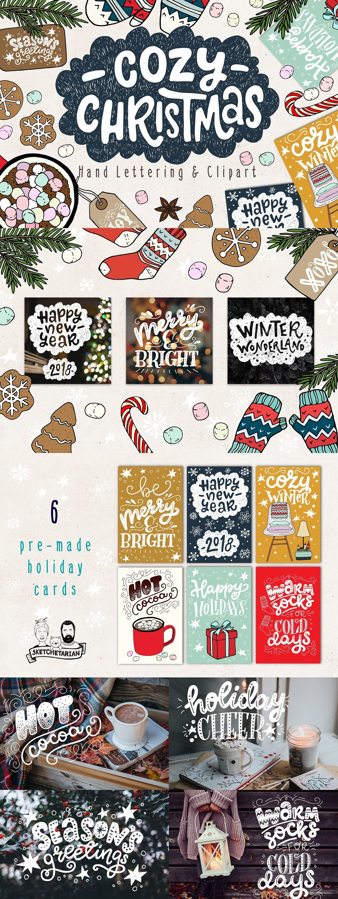 Cozy Christmas Lettering and Clipart Illustrations on