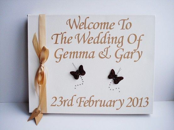 £25.00  www.beadazzledesigns.co.uk  Cream and Brown Wedding Welcome canvas