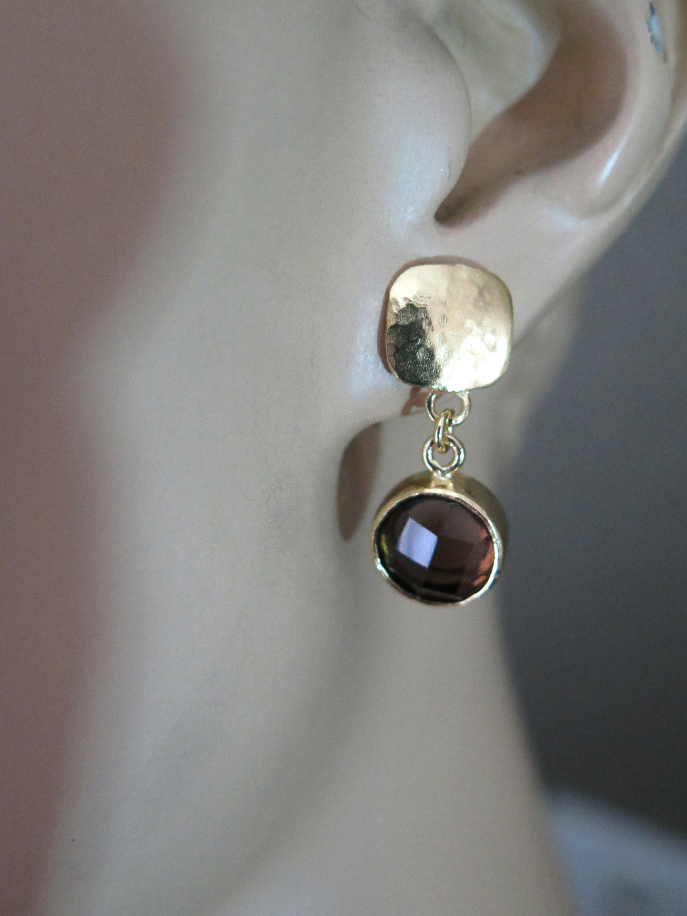 65e734bf6 Gold stud dangles with stones - #etsy shop: Smoky Quartz Earrings,Gold  Dangle