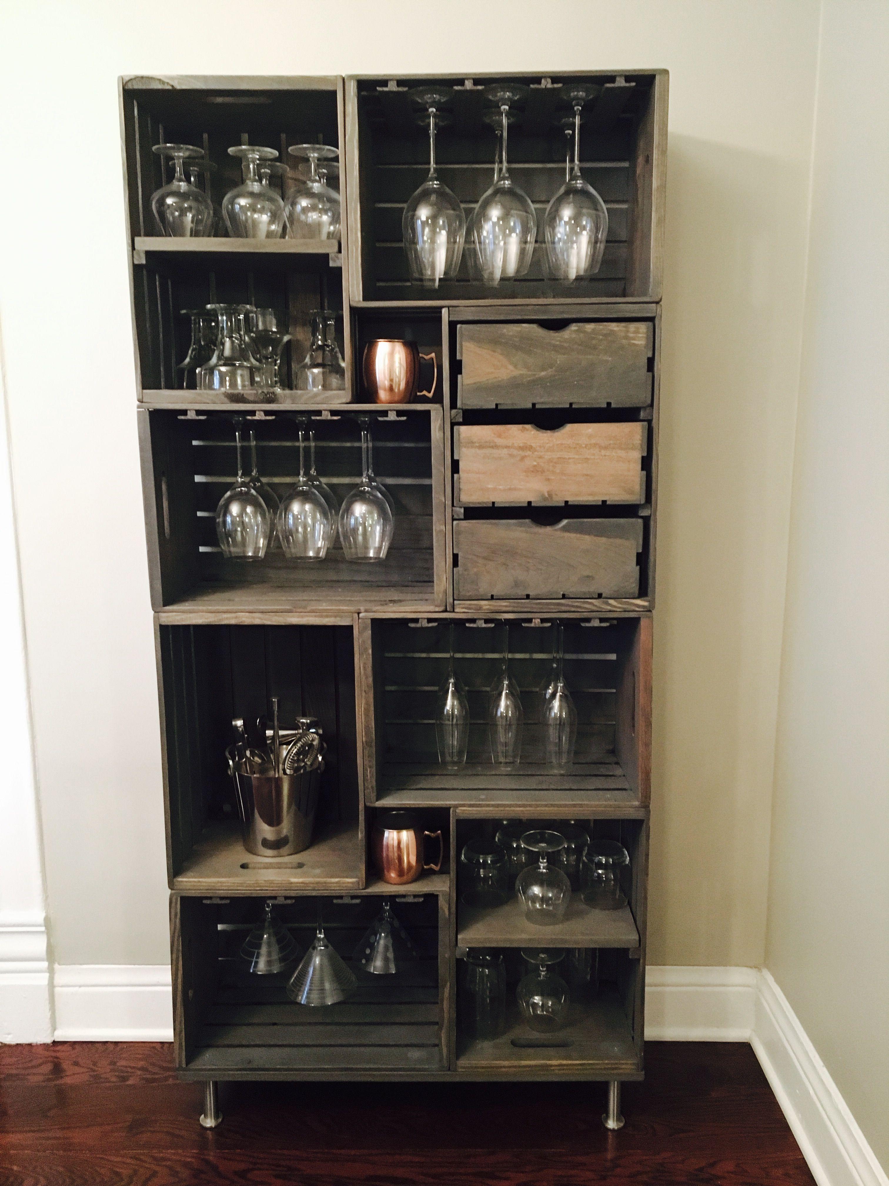 Diy wine glass rack crate furniture diy wine glass
