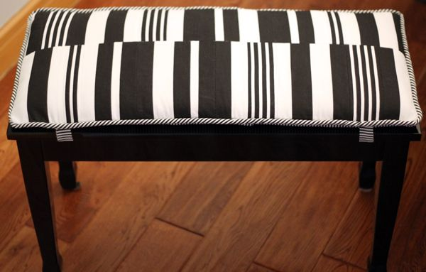 Incredible Piano Bench Diy Bench Cushion Black And White Striped Caraccident5 Cool Chair Designs And Ideas Caraccident5Info