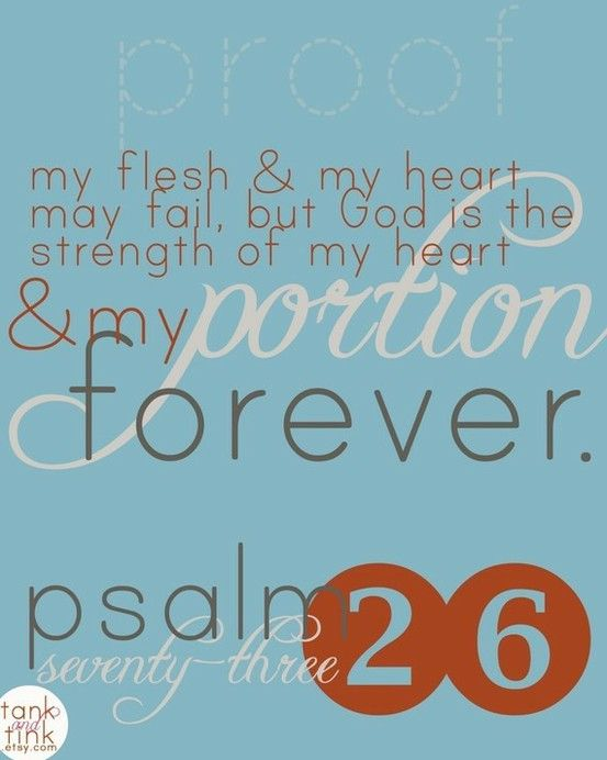 My heart and flesh may fail, but my God, you NEVER will..