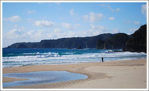 Tatado beach - Izu, Japan    Beautiful small beach with white sand, which is rarely found in Kantoh area. The waves were small yet strong, it was a perfect beach for a novice surfer. I think of turtles and wonder if they still come to the shore to lay eggs.