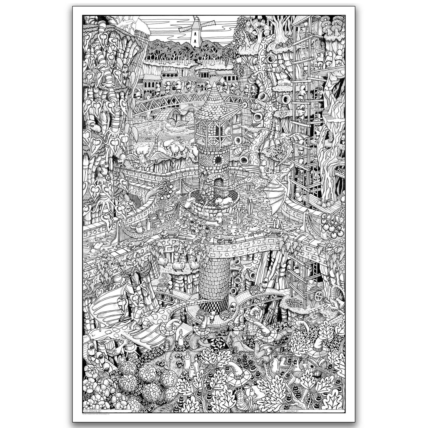 Amazon.com: Wildergorn Color-In Posters - Tower Mine - GIANT ...