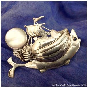 Stephen Wright-Green...pierced and chased sterling silver galleon brooch with gold detail,mother-of-pearl and sapphire cabochons...Based on the original painting by artist Anna Le Moine Gray