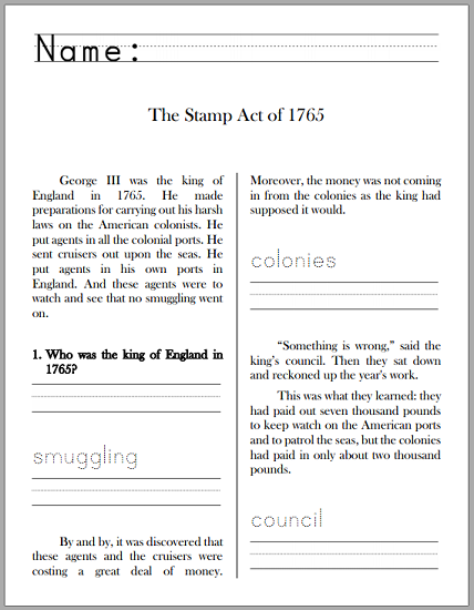 Stamp Act Of 1765 History Workbook For Grades 1 3