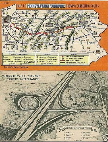 Pennsylvania Turnpike Map Circa 1940 Pennsylvania Home State