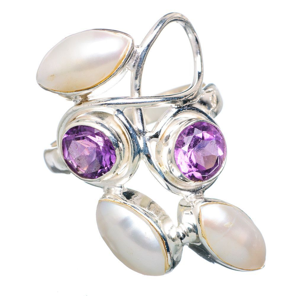 Faceted Amethyst, Cultured Pearl 925 Sterling Silver Ring Size 7 RING695889