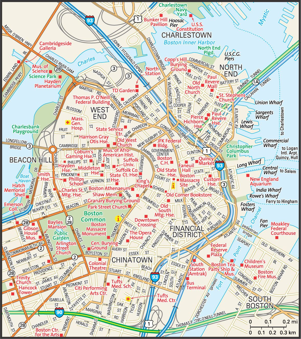 Map Of Downtown Boston Map of Downtown Boston | downtown Boston street map | Places