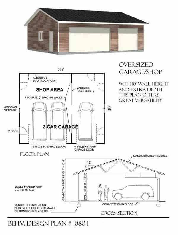 Oversized 3 bay garage by behm design plan 1080 1 home for Garage door plans free