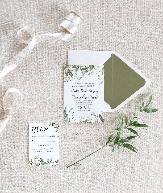 greenery wedding invitation template rsvp printable