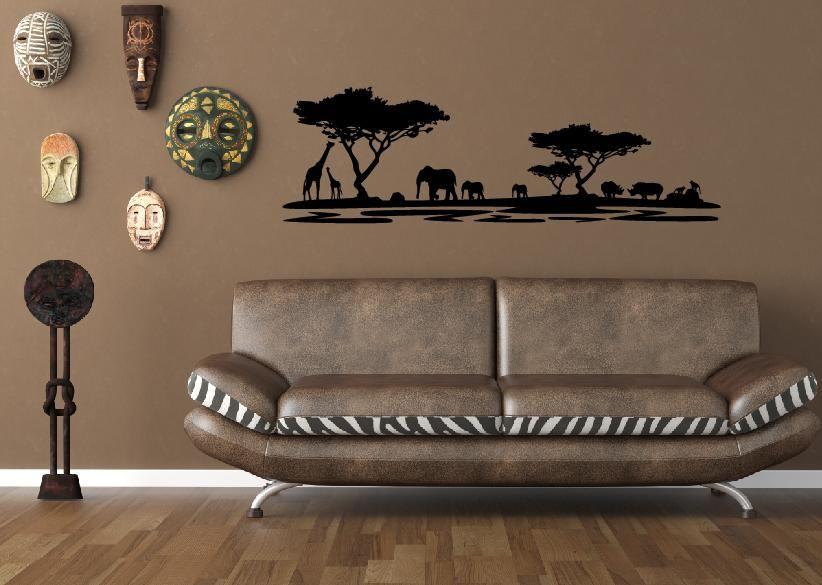 afrika landschaft wandsticker wenn ich in Jennyu0027s Zimmer ziehe - wohnzimmer deko afrika