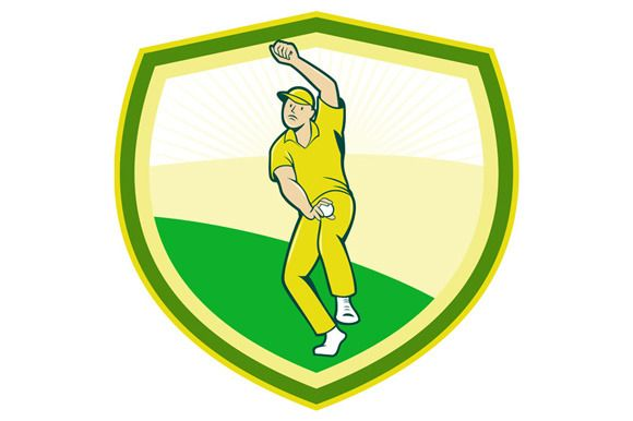 Illustration of a cricket player fast bowler bowling with cricket ball set inside shield crest viewed from front done in cartoon style. #cartoonillustration #CricketPlayer
