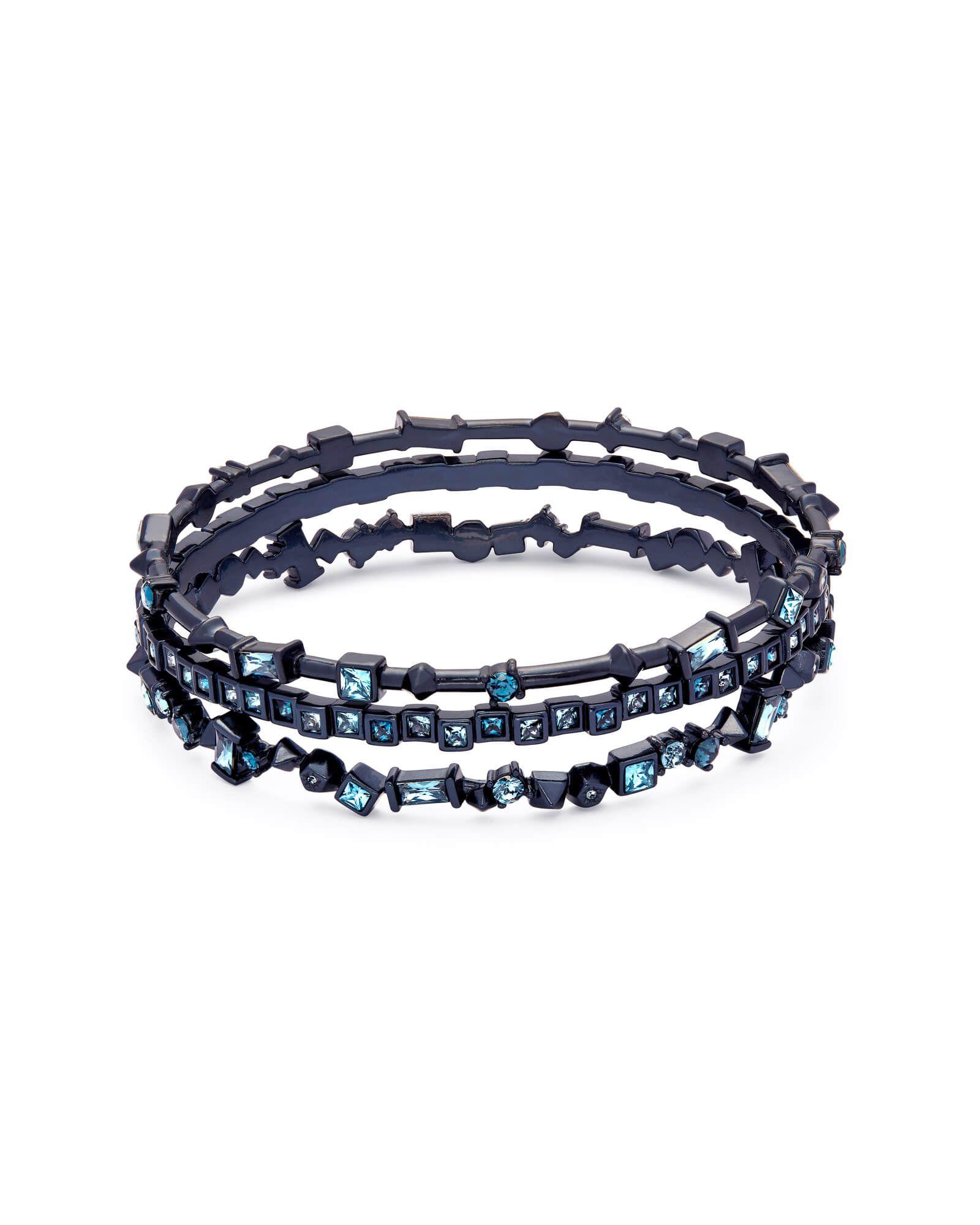 c2f5efa56f0841 Kendra Scott | Malia Navy Gunmetal Bangle Bracelet Set in Indigo Mix ...