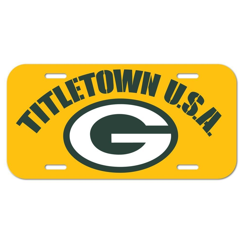 Green Bay Packers Wincraft Green Yellow Titletown Usa Plastic License Plate Green Bay Nfl Green Bay Green Bay Packers