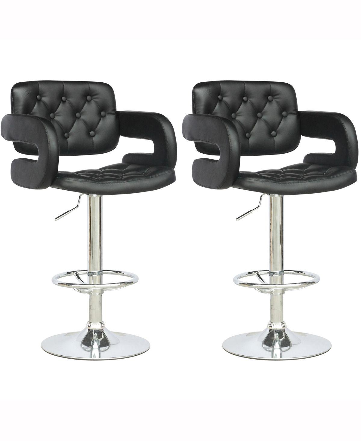 Corliving Adjustable Tufted Leatherette Barstool With Armrests