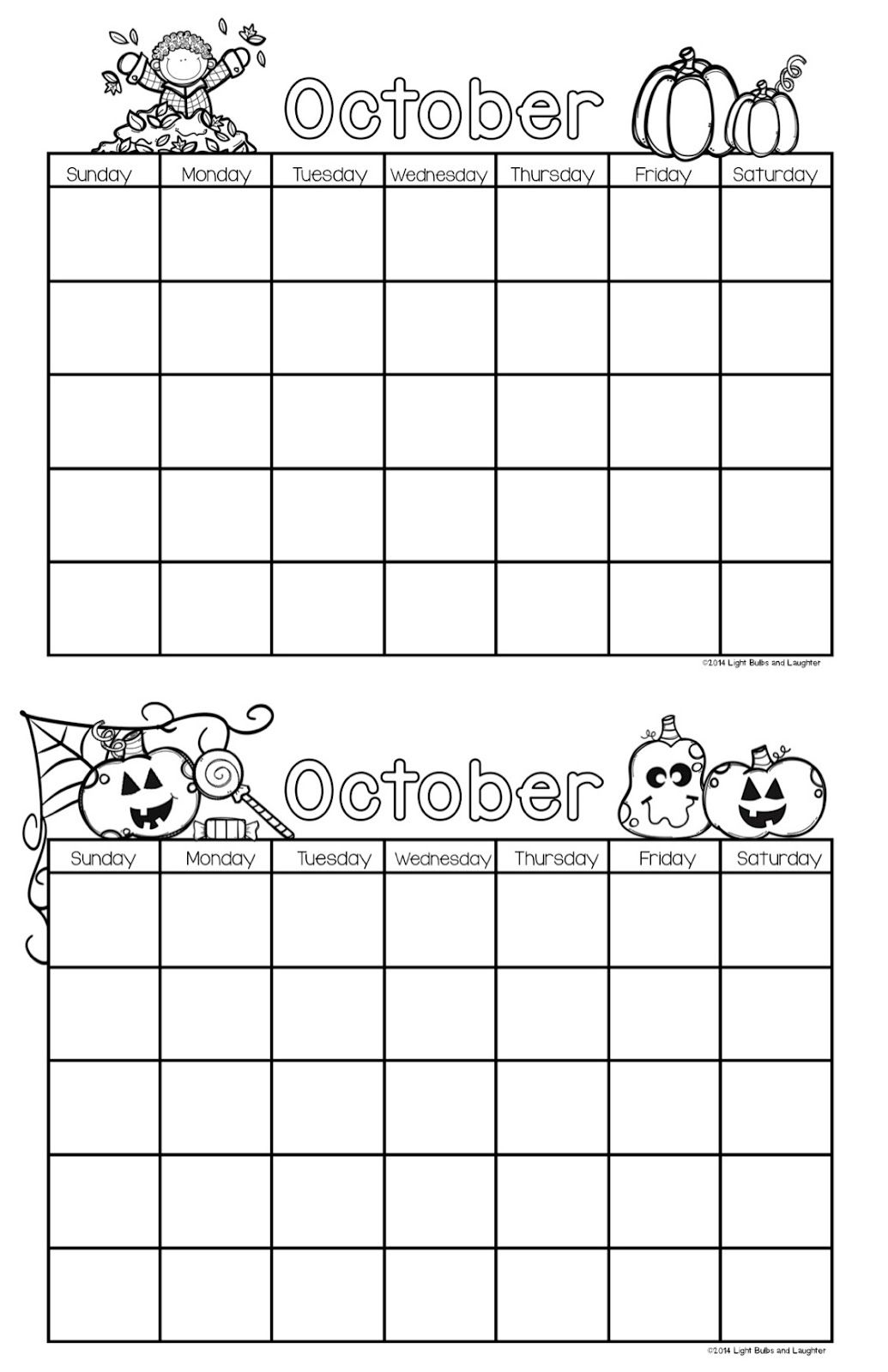 October Calendars Free From Light Bulbs And Laughter