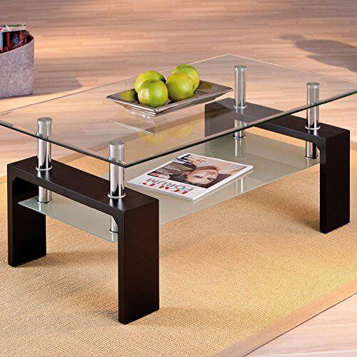 Links 50100045 Couchtisch aus Glas Holz Schwarz | Couchtische ...