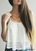 Double Layers Crop White - Top | Lookbook Store
