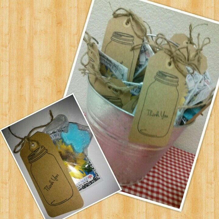 Texas bridal shower favors-thank you gifts-Texas shaped homemade soap and packet of sunflower seeds.