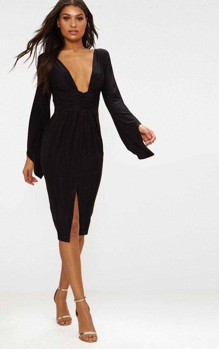 Black Flare Sleeve Ruched Panel Midi Dress Dresses