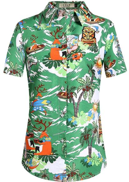 39c69a192 $18.00 Women's Christmas Santa Claus Hawaiian Shirt | Hawaiian ...