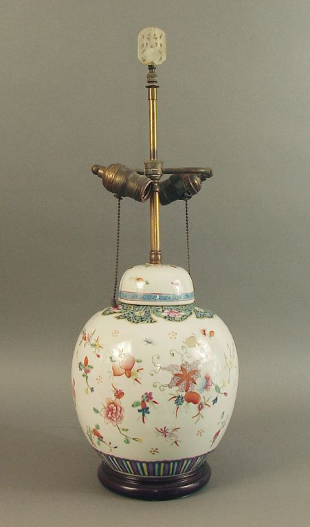 1stdibs Highly Decorated Chinese Ginger Jar Lamp Base On Wood Stand