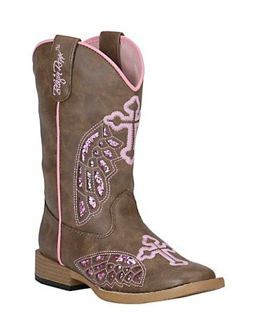 f459ba6f8de Blazin Roxx Girl's Brown with Pink Winged Cross Square Toe Western ...