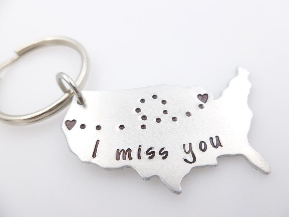 Custom long distance relationship keychain usa i miss