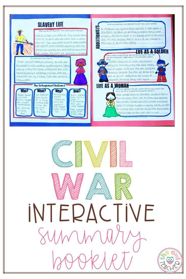 Civil War Summary Booklet In 2020