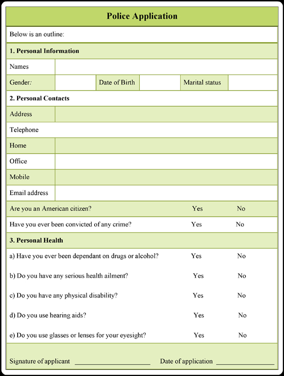 download this printable police application form example in microsoft