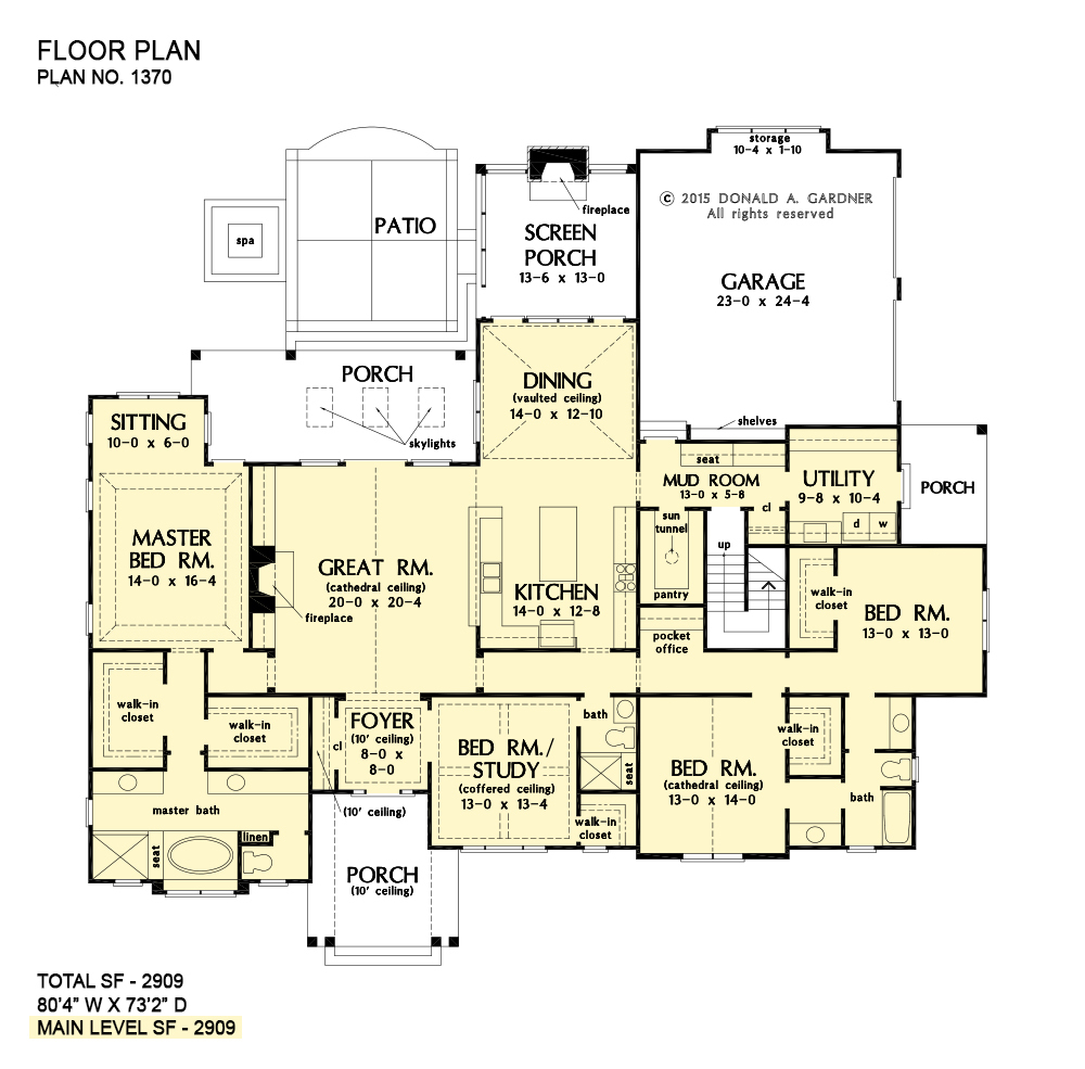 One Story House Plans Rear Garage Plans Donald Gardner Ranch House Plans New House Plans Craftsman House Plans