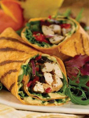 Spinach, Tomato, Chicken and Hummus Wrap