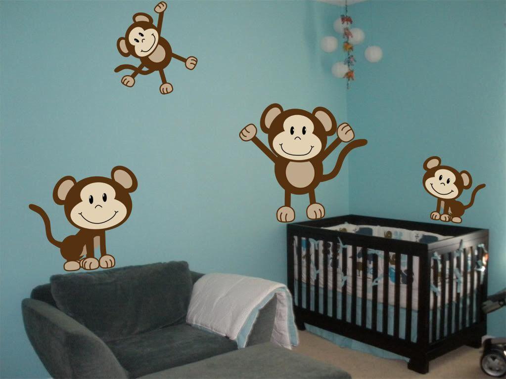Superior Details About 4 Cute Monkeys Wall Decals Sticker Nursery Decor Mural