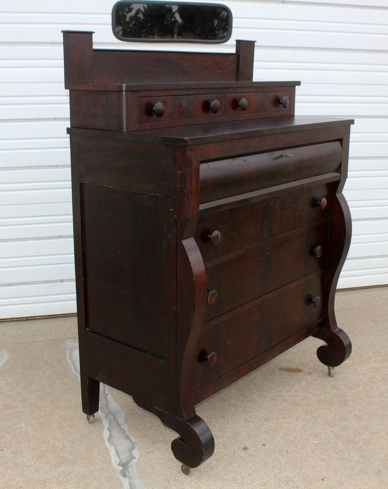 Antique 1800 Dovetailed Mahogany Dresser Mortuary Donation