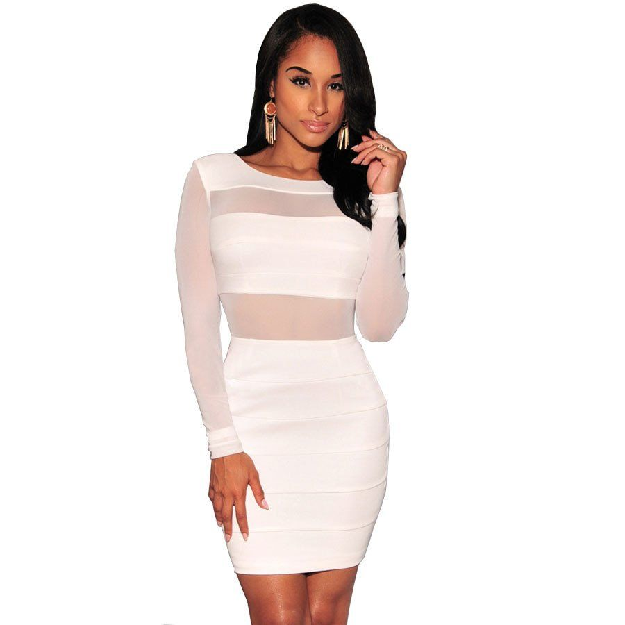 Long sleeve sexy party dress women backless bodycon black white club