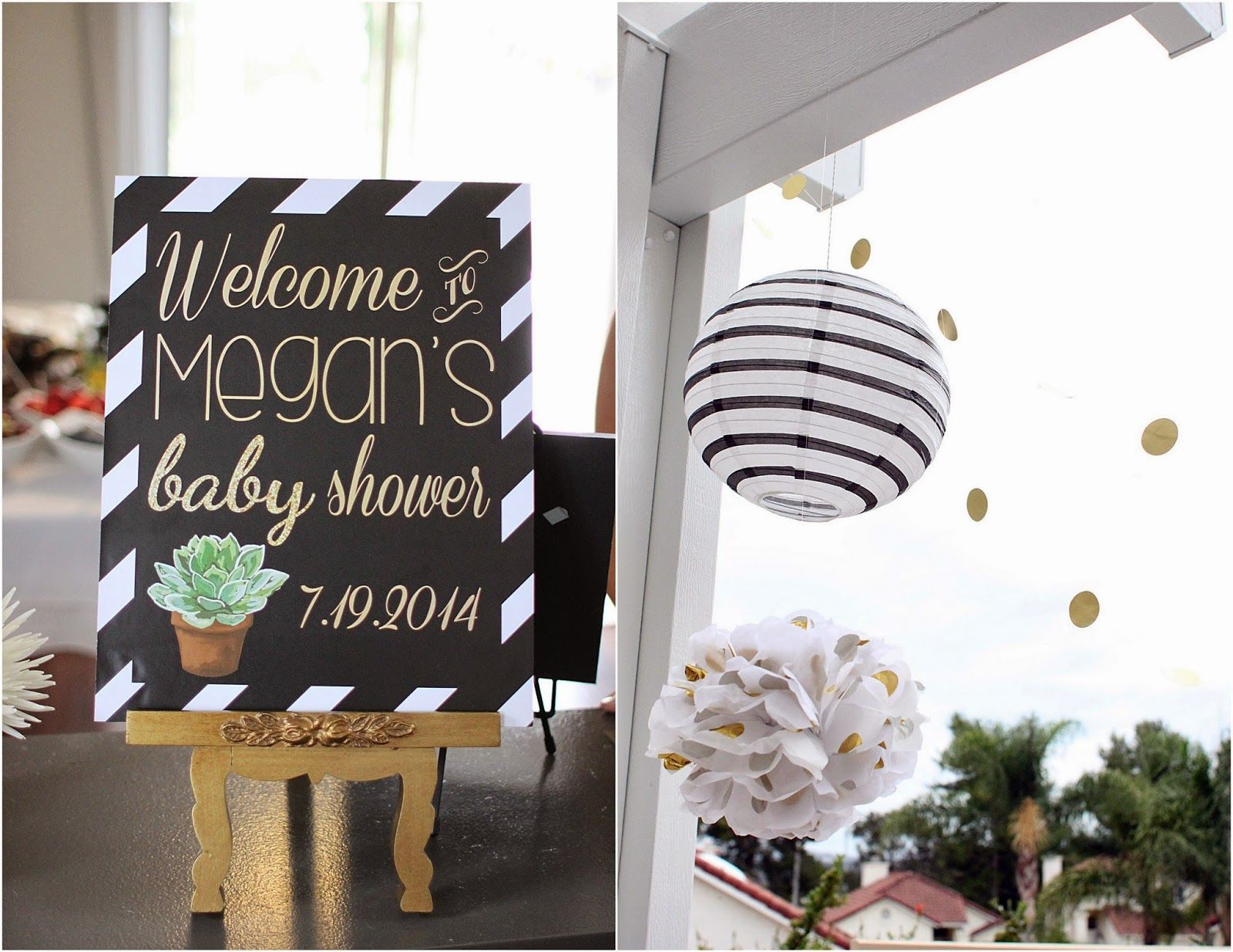 Wel e Baby Shower Sign black white and gold