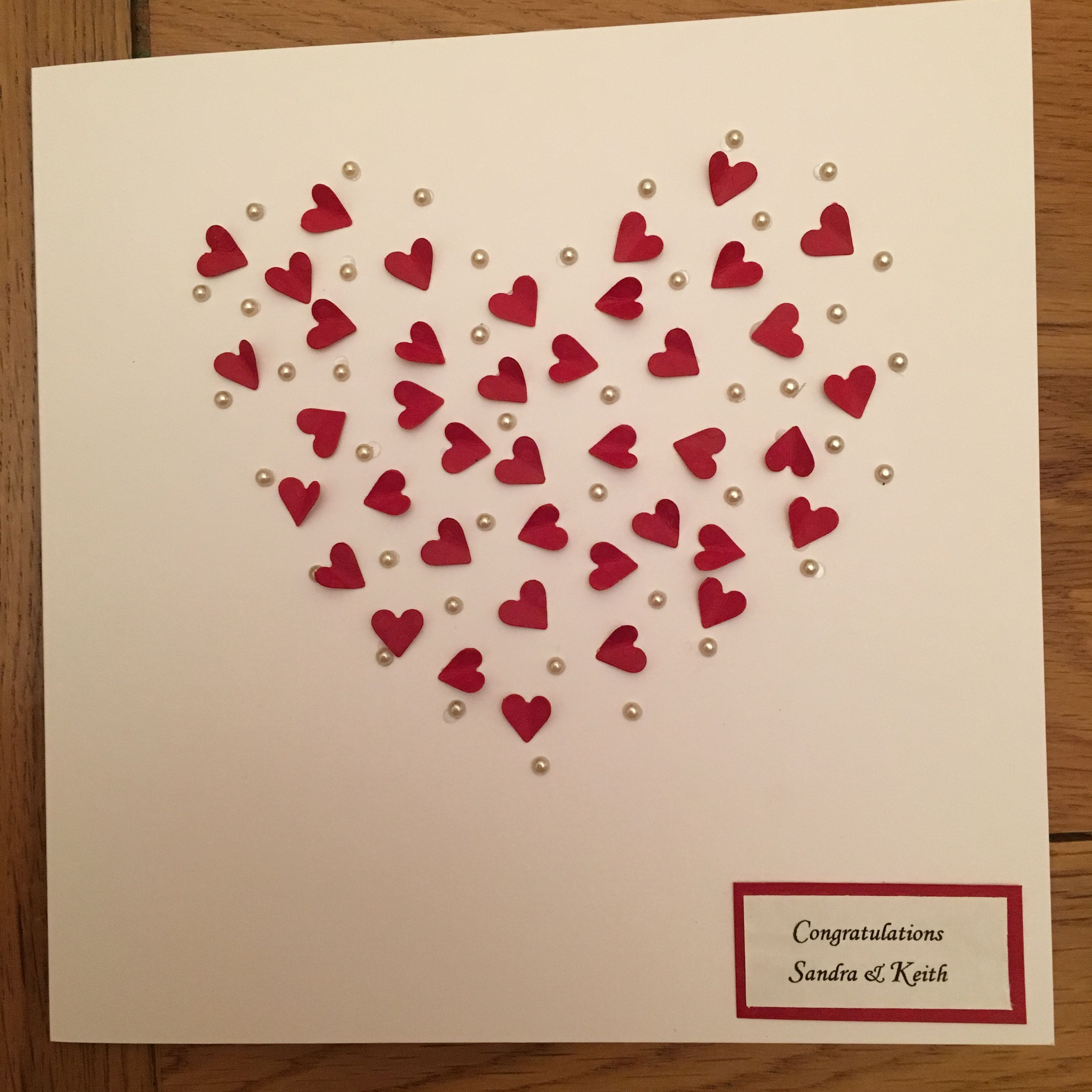 Ruby wedding anniversary card with 40 little hearts | Craft Ideas ...