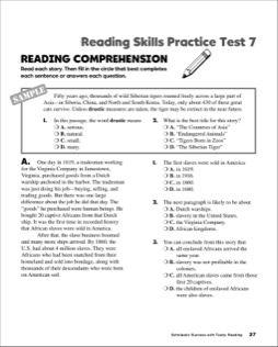 Reading Skills Practice Test 7 (Grade 6)   Education   Reading